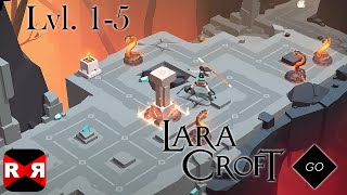 Lara Croft GO - The Cave of Fire Lvl. 1-5 - iOS / Android - Walkthrough Gameplay