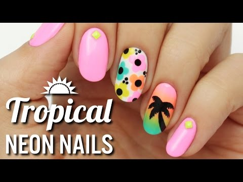 Tropical Neon Nail Art