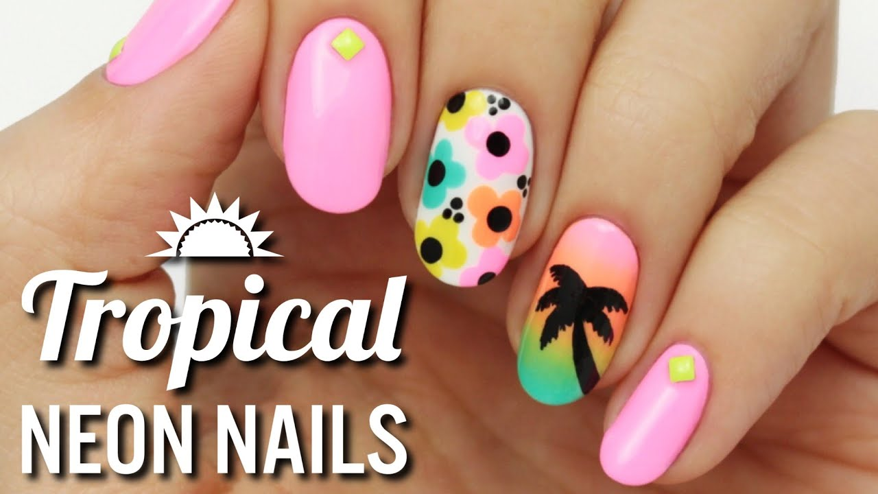 Tropical Neon Nail Art - YouTube