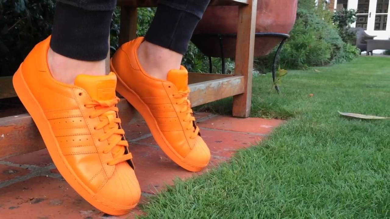 a9fb6056556c79 Orange Adidas Supercolor On Foot - POP - YouTube