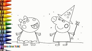 How to Draw Halloween Peppa Pig | Coloring Pages Video for Kids
