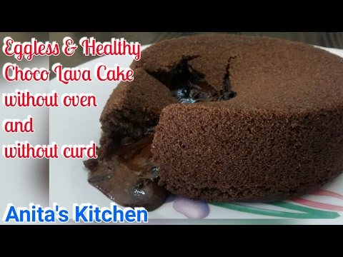 Healthy Eggless Choco Lava Cake Without Oven and Without curd