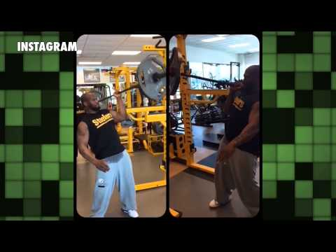 James Harrison Performs 1-Handed Shoulder Press with 135-Pound Barbell