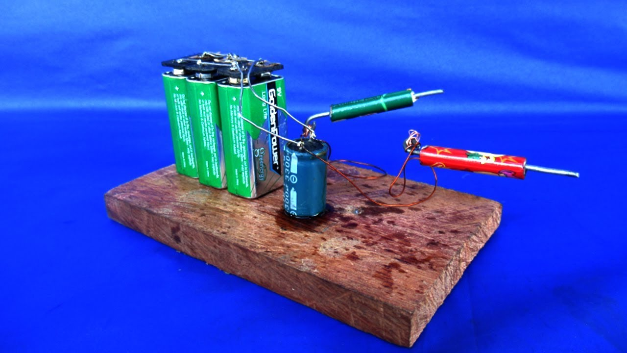 How to make mini spot welding and Capacitor With 9 volt Battery - at home  2018