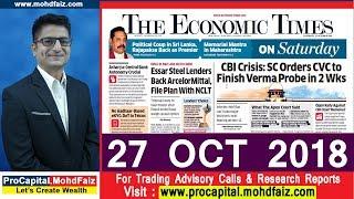 ECONOMIC TIMES NEWSPAPER ANALYSIS 27 OCT 2018