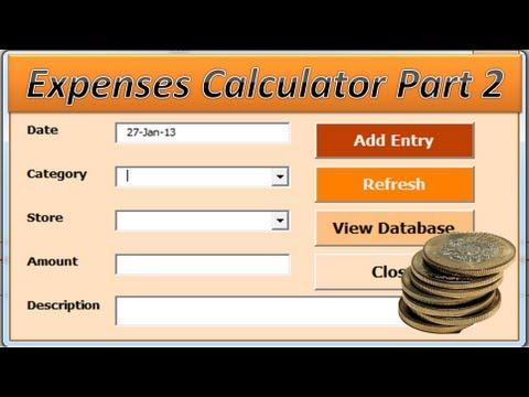expenses calculator excel