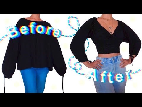 [VIDEO] - DIY SHIRT TO TRENDY PEASANT TOP THRIFT FLIP TRANSFORMATION// HOW TO REVAMP YOUR SHIRTS 7