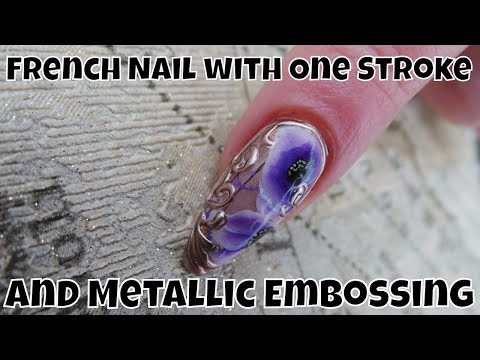 French Nail with One Stroke and Metallic Embossing