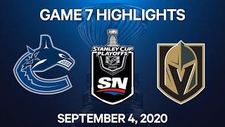 NHL Highlights   2nd Round, Game 7: Canucks vs. Golden Knights - Sept 4, 2020