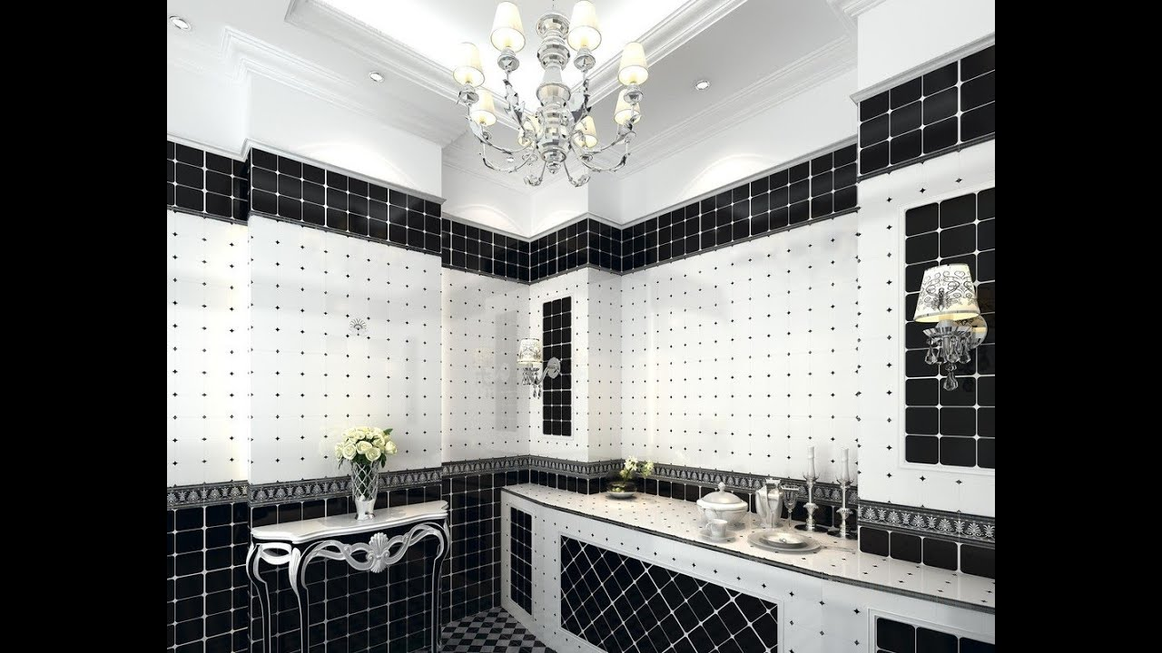 black and white bathroom tile ideas youtube - Bathroom Tile Ideas Black And White