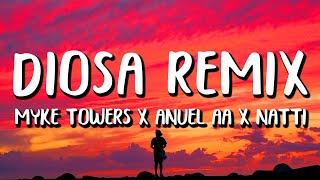 Myke Towers x Anuel AA x Natti Natasha - Diosa REMIX (Letra/Lyrics)