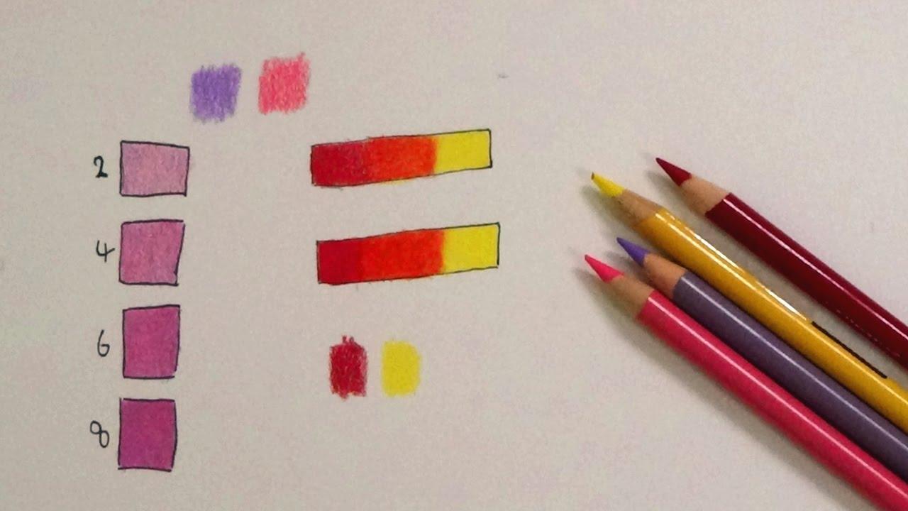 تعلم المزج والدمج والتلوين بالألوان الخشبية للمبتدئين 3 Youtube