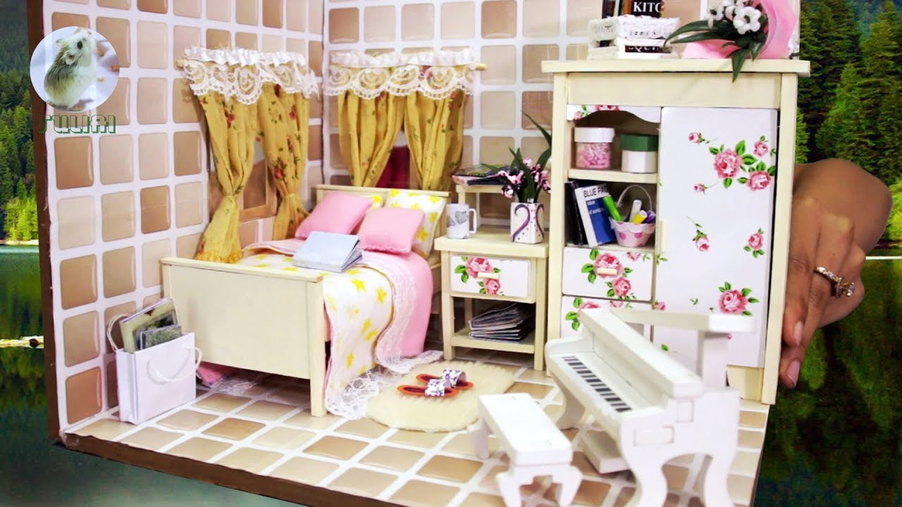 Diy Dollhouse Bedroom Miniature How To Design Doll Room Youtube