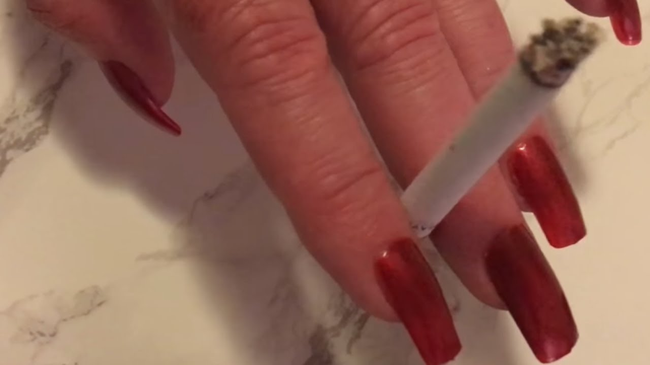 Wife Smoking With Long Red Nails - YouTube