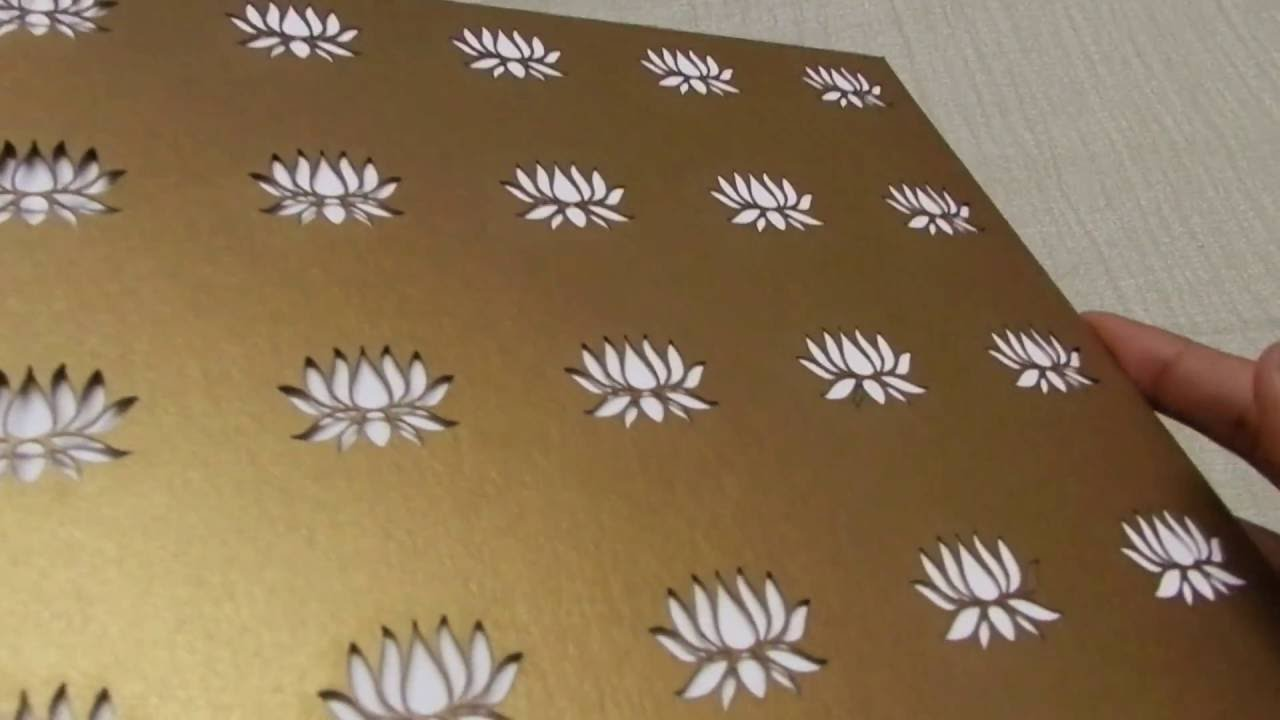 d4a3bd3eae Golden Wedding Invite With Laser Cut Lotus Design | Lotus Card Studio