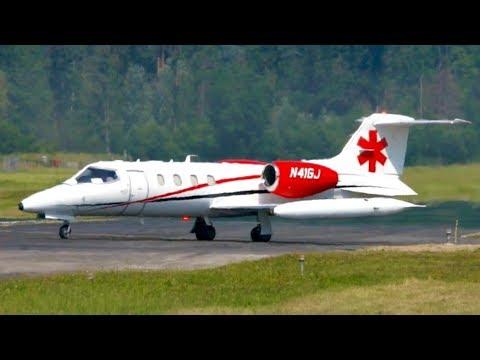 Learjet 36A Take-Off * Global Jetcare * Flight from Bern to Washington DC