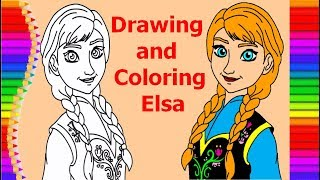 Drawing and Coloring Elsa for kids
