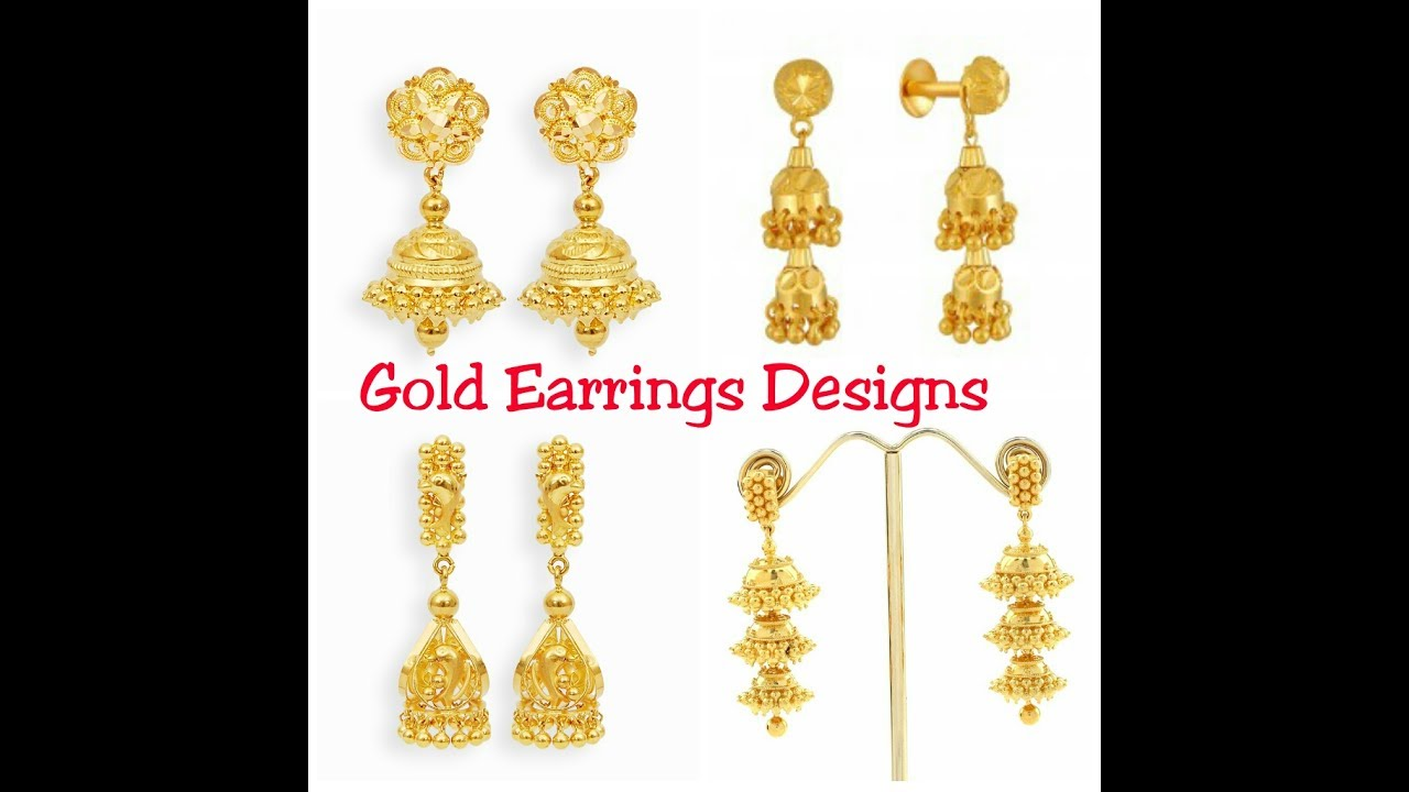Gold Earrings Designs ||2017|| - YouTube