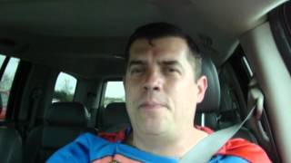 Brett Man dresses as Superman befor show while driving mad at drivers.MOV