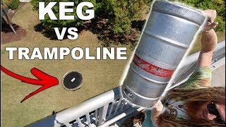 KEG Vs. TRAMPOLINE !!! (Will It Break??) | JOOGSQUAD PPJT