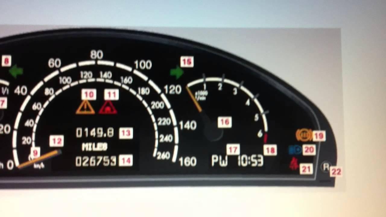 Mercedes S Class W220 Dashboard Warning Lights Symbols Diagnostic Code Scan Tools