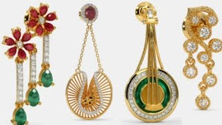 #stylish#fancy gold  and diamond earrings design with weight and price
