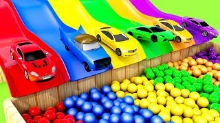 Learn Colors with Street Vehicle and Flying Toy Car for Kids!Educational 3D Animation!