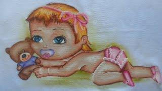 Como pintar ursinho e bebê em tecido por Arte com Marcos Pedro