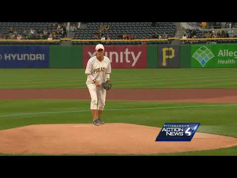 Kelly Frey throws out first pitch at PNC Park