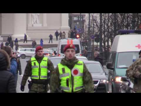 Ambulance accidentally enters military parade Lithuania Vilnius