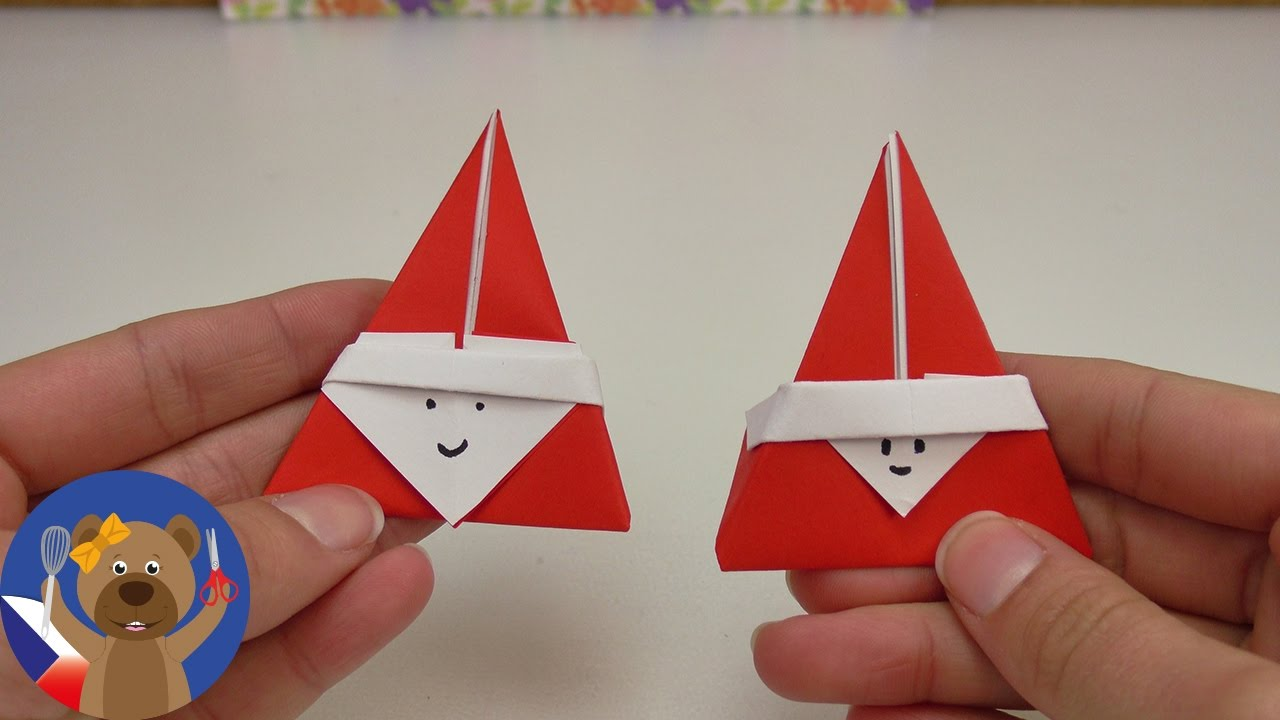 diy roztomil je ek nebo santa claus origami. Black Bedroom Furniture Sets. Home Design Ideas