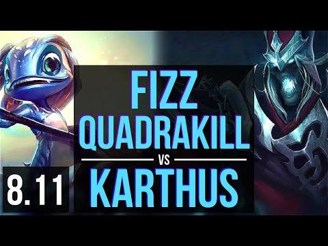 FIZZ vs KARTHUS (MID) ~ Quadrakill, KDA 14/1/3, Legendary ~ Korea Master ~ Patch 8.11