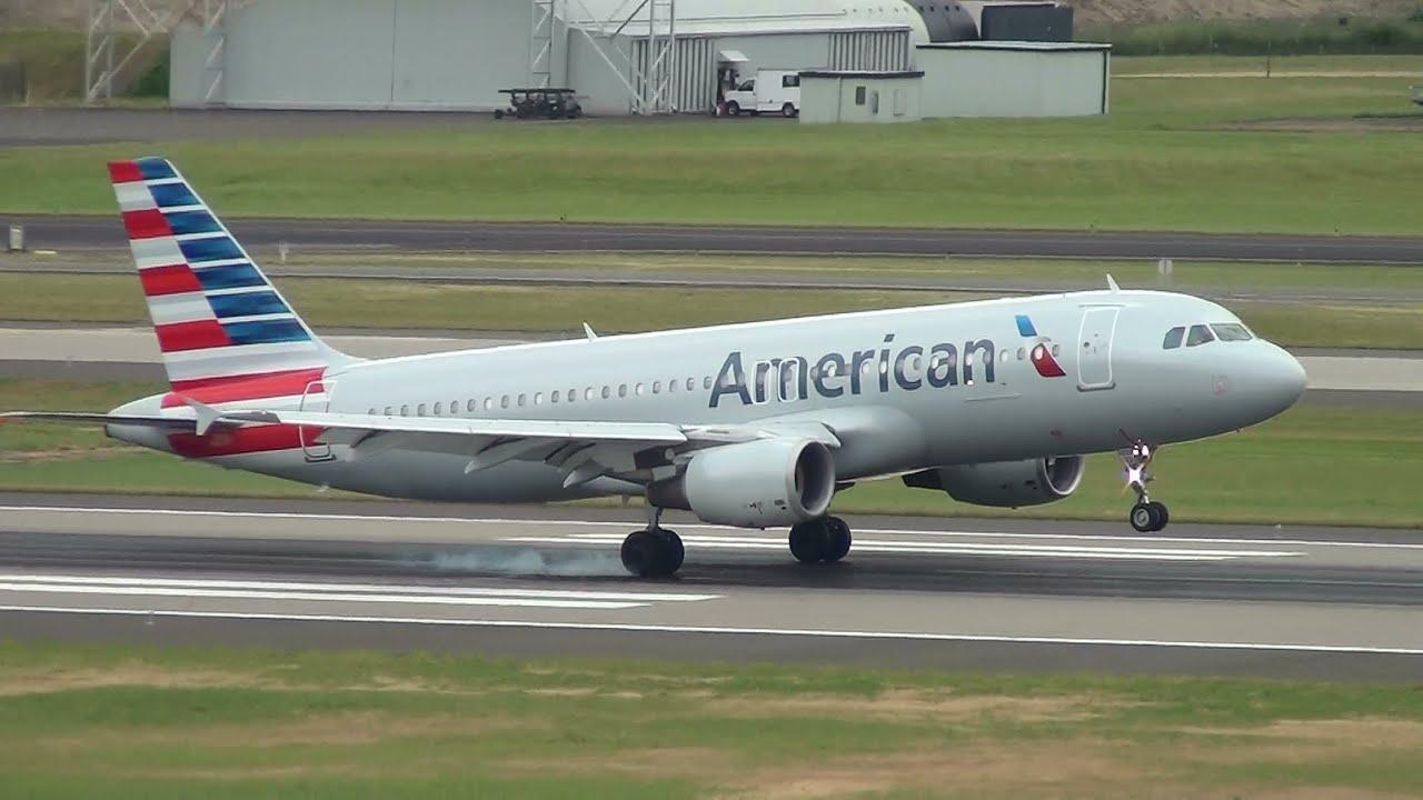 American Airlines N122us A320 Landing Portland Airport