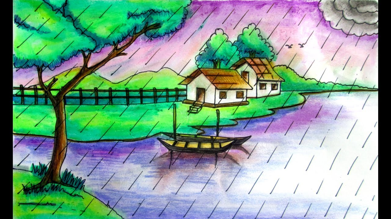How to draw rainy season natural scenery by indrajit art school