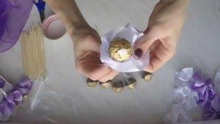 Как сделать букет из конфет дома.Подарок своими руками.