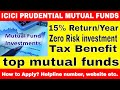 ICICI Prudential Mutual fund - 15% tax benefit mutual fund and zero risk - How to apply online