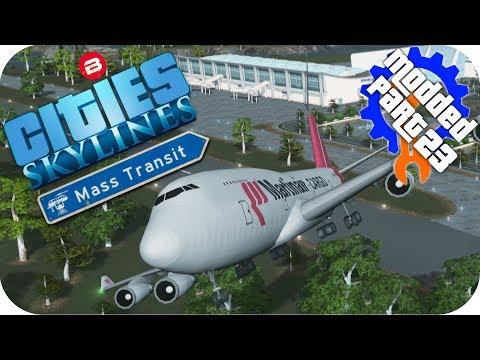Cities Skylines Gameplay: AIRPORT ISLAND!!! Cities: Skylines Mods MASS TRANSIT DLC Part 23