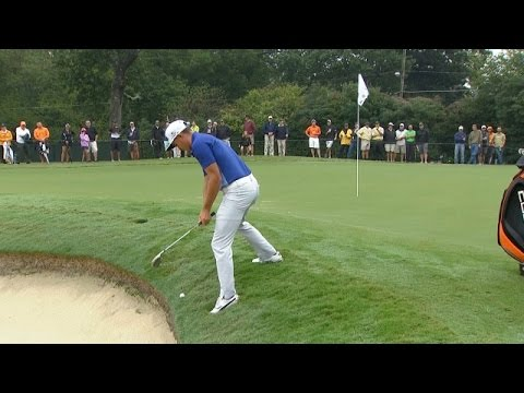 Rickie Fowler's left-handed shot goes south at the TOUR Championship