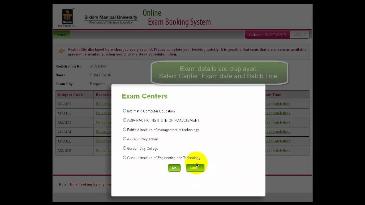 Sikkim manipal online slot booking how to play music on powerpoint