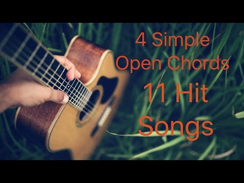 "4 SIMPLE OPEN CHORDS 11 HIT SONGS ""BOLLYWOOD MASHUP"" EASY GUITAR LESSONS"