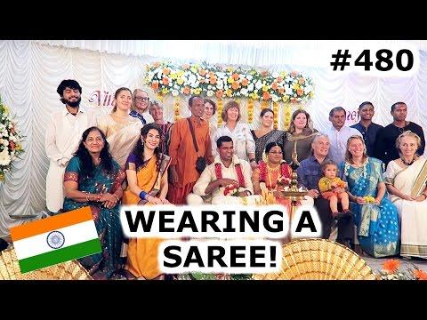 WEARING A SAREE AT INDIAN WEDDING | KOCHI DAY 480 | INDIA | TRAVEL VLOG IV