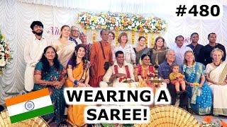 wearing a saree at indian wedding   kochi day 480   india   travel vlog iv