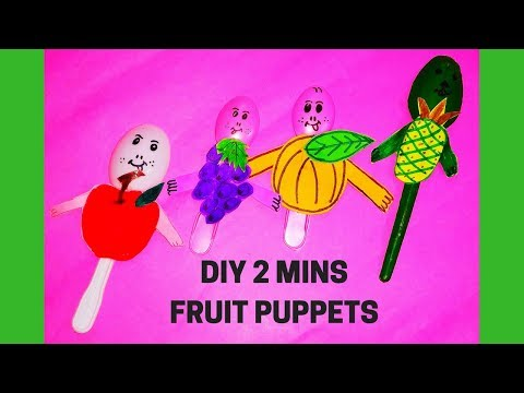 DIY 2 MINUTES CRAFT || SPOON FRUIT CRAFT|| FRUIT PUPPETS || 2D FRUITS|| How to Make Fruit Puppets