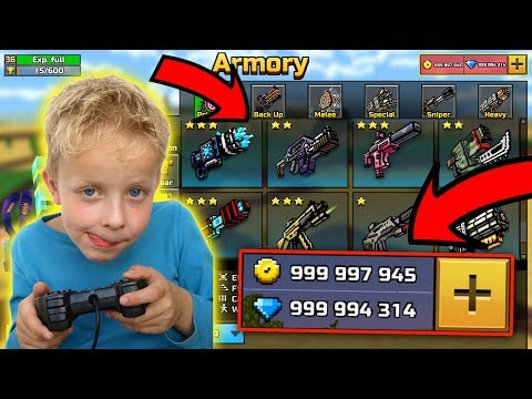 Kid Gets Unlimited Gems And Coins In Pixel Gun 3D!!! Crazy Reaction!