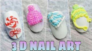 10 идей 3D дизайнов ногтей Новогодний маникюр Лепка на ногтях гелем пластилином 10 Nail ideas