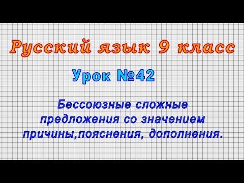 Русский язык 9 класс (Урок№42 - Бессоюзные сложные предл.со значением причины,пояснения,дополнения.)