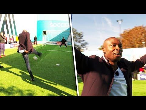 Shola Ameobi v Mo Gilligan | Penalty, volleys, free kick & crossbar challenge | Soccer AM Pro Am