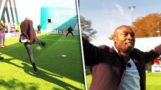 Shola Ameobi v Mo Gilligan | Penalty, volleys, free kick & crossbar challenge | Soccer AM Pro Am