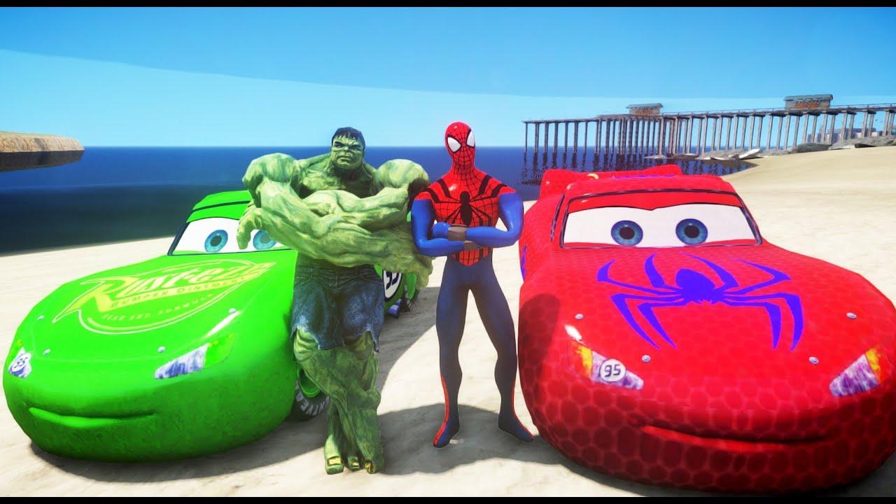 Человек-паук и Халк с его авто Молния Маккуин! - YouTube