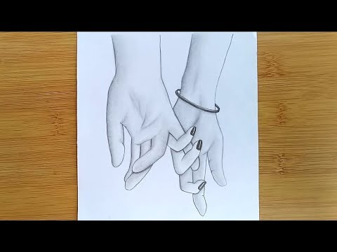 how-to-draw-romantic-couple-👫-holding-hands-with-pencil-sketch.